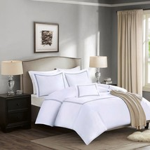 Luxury 5pc White & Grey 1000TC Cotton Duvet w/Comforter AND Decorative P... - $4.198,86 MXN+