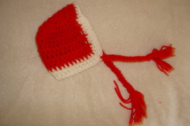 Hand crocheted bright red bonnet beanie/cap/hat/photography prop for  image 4
