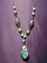 Vintage Blue Gold & Silver Colored Glass Pendant Beads W Flower Details ... - $49.50