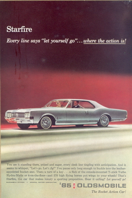 1965 Oldsmobile starfire rocket action car print ad
