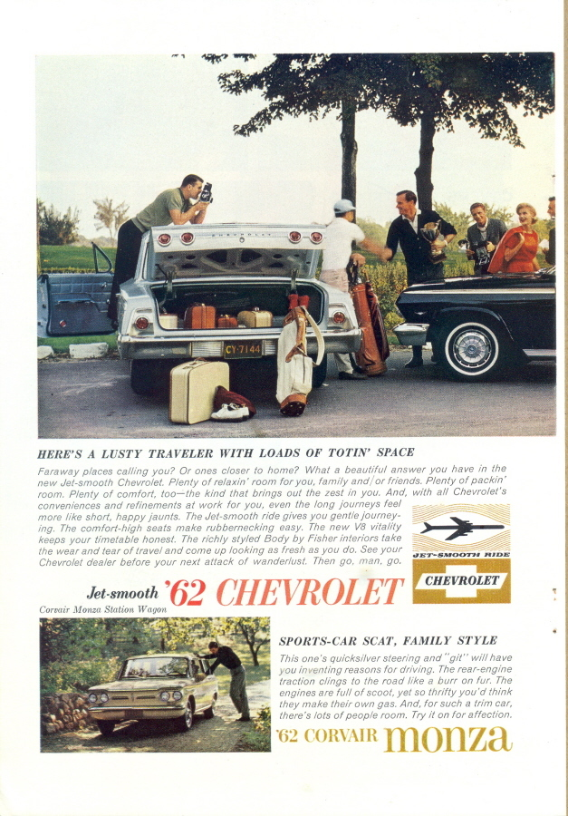 1962 Chevrolet Corvair Monza Chevy II Nova 2-page print ad