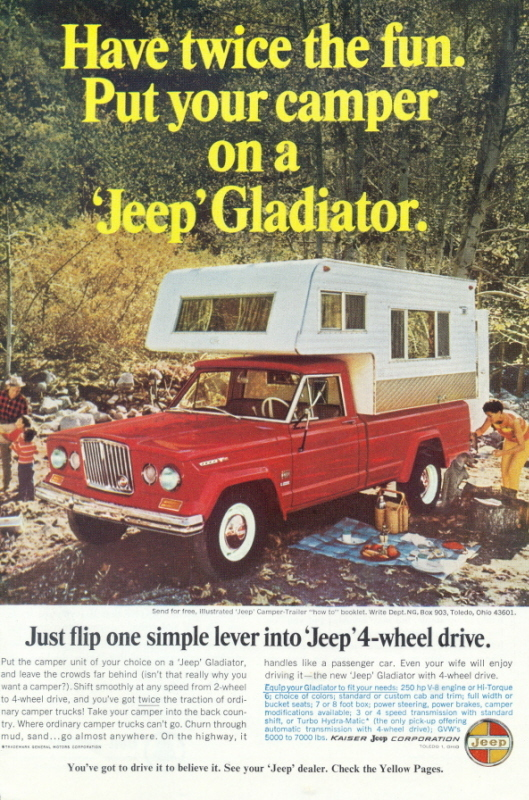 1966 GM Jeep Gladiator Camper Trailer Color print ad