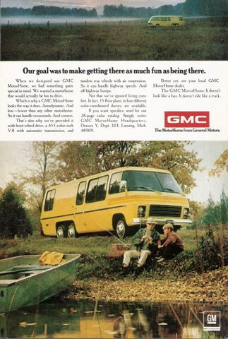 1974 GMC Yellow Motor Home Front-Wheel Drive print ad