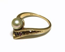 10K Yellow Gold Pearl Spinel and Pink Sapphire Ring size 7.5 4.1g - $214.99