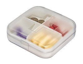 Clear Mini 4 Slots Plastic Travel Pills/Vitamins Box Multi-Purpose Organ... - £8.32 GBP