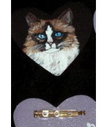 Ragamuffin Cat Custom Painted Pin Brooch - $16.00