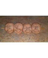 Four Faces Clay Sculpture Expressions Vtg  Peek-a-Boo Good Grief Men on ... - $98.99