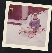 Vintage Photograph Little Girl Bundled Up Sitting on Sled in the Snow - $6.93