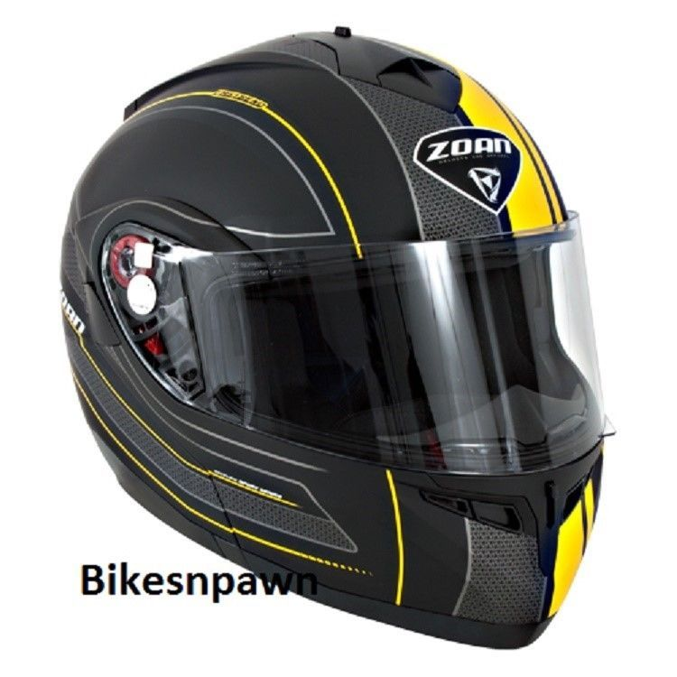 New XS Zoan Optimus Black & Yellow Raceline Modular Motorcycle Helmet 138-143
