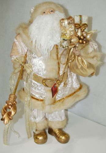 Sterling Brand Large Luxurious Ivory Santa Figurine Holding Gold Color Staff