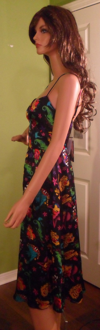 NWT BETSEY JOHNSON Black Tattoo Print Slip Dress Size 2 NEW (MAKE AN OFFER)