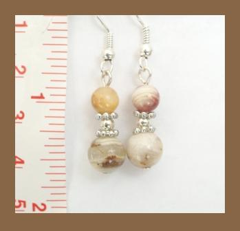 Mixed White & Brown Jade Earrings