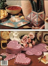 Plastic Canvas Unique Shapes Coaster Set Southwest Doily Vase Ornaments ... - $12.99