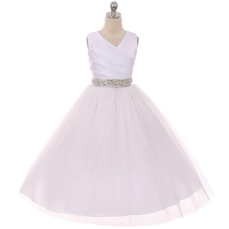 White Sleeveless Spinning Satin Illusion Skirt Burgundy Sash Rhinestones Dress