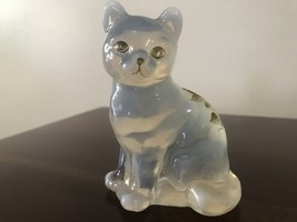 Fenton Cat Clear opalescent Hand Painted Glass Figurine strawberry   - $45.00