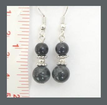 Dark Grey Gemstone Earrings