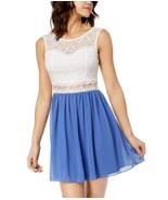 BCX Juniors Dress Sleeveless Lace Chiffon Contrast White Periwinkle Wome... - $58.41