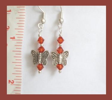 Indian Red Swarovski Crystal & Tibetan Silver Butterfly Earring