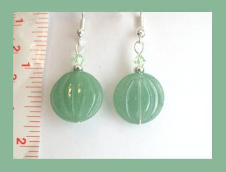 Natural Green Jade Coin Earrings