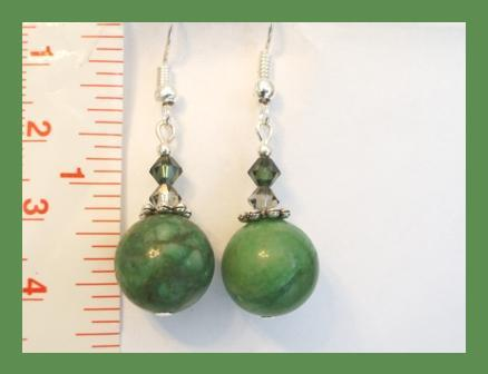 Green Gemstone & Swarovski Crystal Earrings