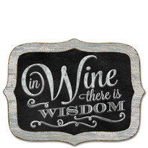 Framed Wooden Chalkboard Sign Wall Plaque IN WINE THERE IS WISDOM Scallo... - $21.99