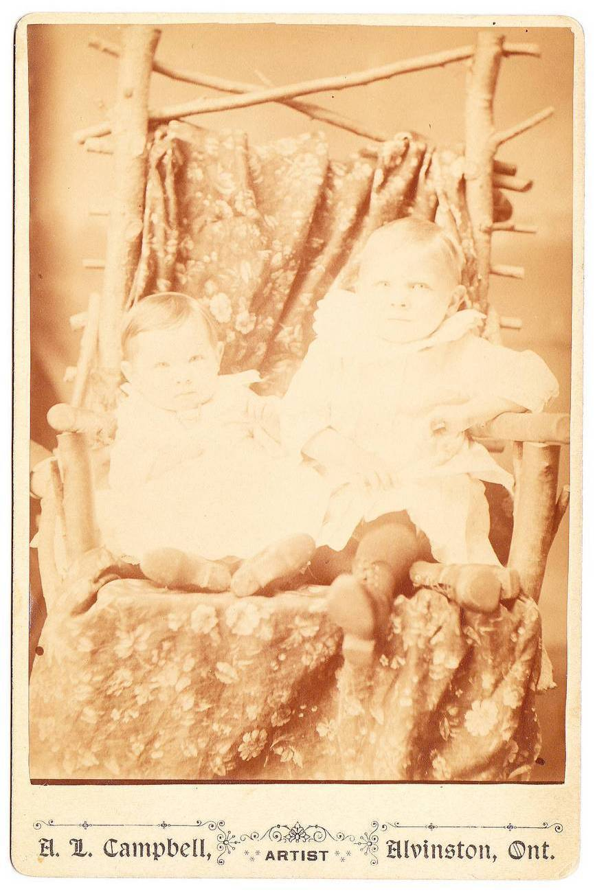 Antique Cabinet Card Photo 2 Babies Twig Branch Chair