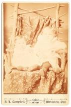 Antique Cabinet Card Photo 2 Babies Twig Branch Chair - $3.95