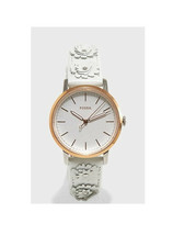 New Fossil Women Neely White Leather Strap Watch & Heart Earring Set ES4383 - $73.94