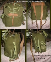 Vintage New Old Stock Romanian Army Canvas Backpack W/ Leather Shoulder Straps - $44.61