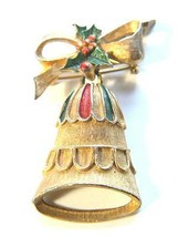 Gerrys Christmas Pin with Bell Bow and Enamel Vintage Brooch - $13.49