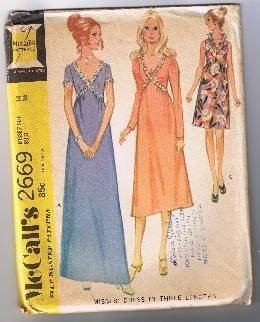 McCall's 2669 - Misses' Formal & Causal Dress in 3 Lengths - Size 14 - UNCUT