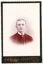 Antique Cabinet Card Photo Young Man Cheboygan Michigan MI - $4.95