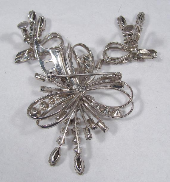 VINTAGE STERLING & RHINESTONE PIN & EARRING SET