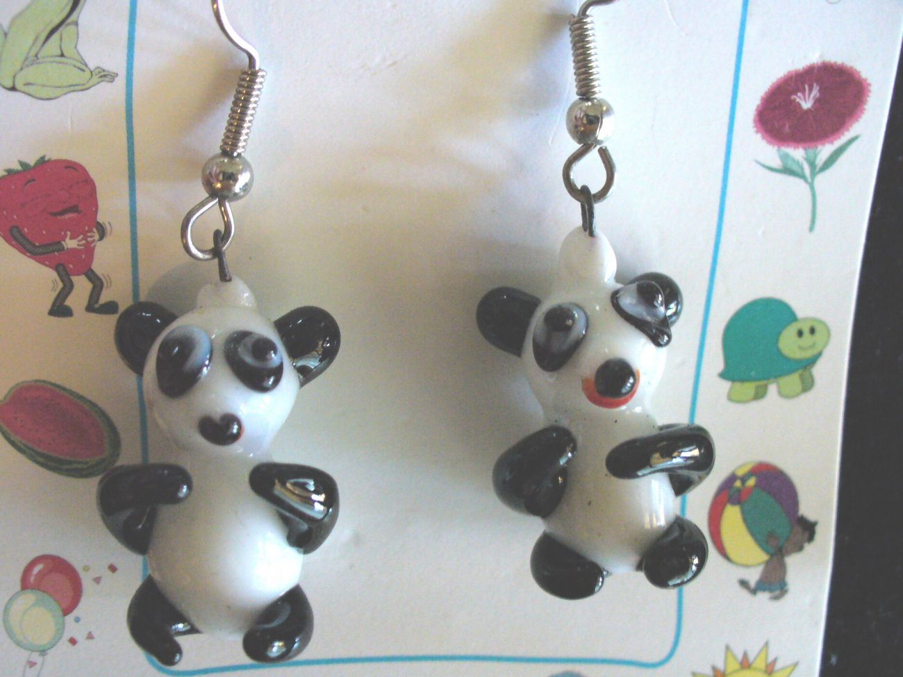 Global Village Glass Panda Bear Dangle Earrings