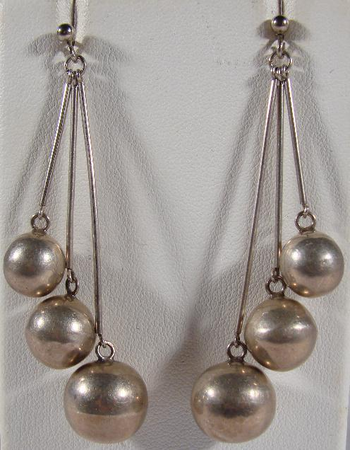 LONG STERLING BALL EARRINGS