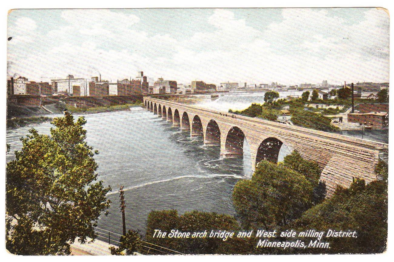 Vintage 1915 Postcard Stone Arch Bridge Minneapolis MN