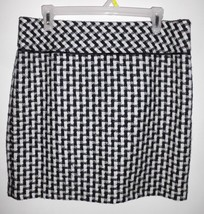 ANN TAYLOR LOFT Skirt Sz 10 Pencil Above Knee Lined Black White Women's - $29.69