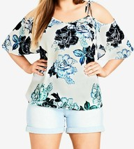 City Chic Top Blouse White Blue Cold Shoulder Size 24/XXL Plus $69 NEW L... - $41.57