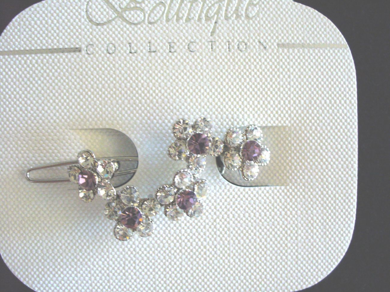 Purple and Clear CZ Flowers Barrette