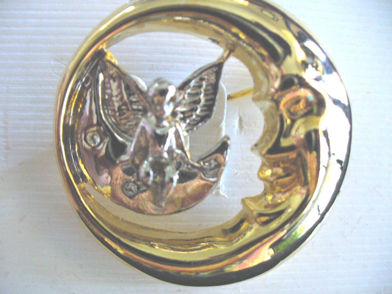 Silver Angel protected by Gold Moon Pin