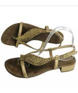 Sheridan Mia Anthropology Sandal Size 8 Gold Sparkle Leaf Flip Flop Eu 38 - $26.48