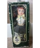 Geppeddo Porcelain Doll  Green Dress  Gold Glittery Bow  Adorable & Rare - $35.99
