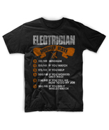 Electrician Hourly Rates Men Black T-Shirt Tee - $17.99