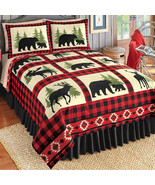 Woodland Fleece Coverlet, Bear, Deer and Moose Silhouettes with Red/Blac... - $20.53