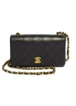 Auth Chanel Shoulder Bag Black Mini Matelasse Vintage Crossbody Logo Gold B5177 - $2,829.42