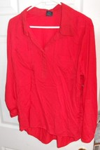 Faded Glory Woman's Blouse, Long Sleeve, 2X (20), Red,  - $10.35