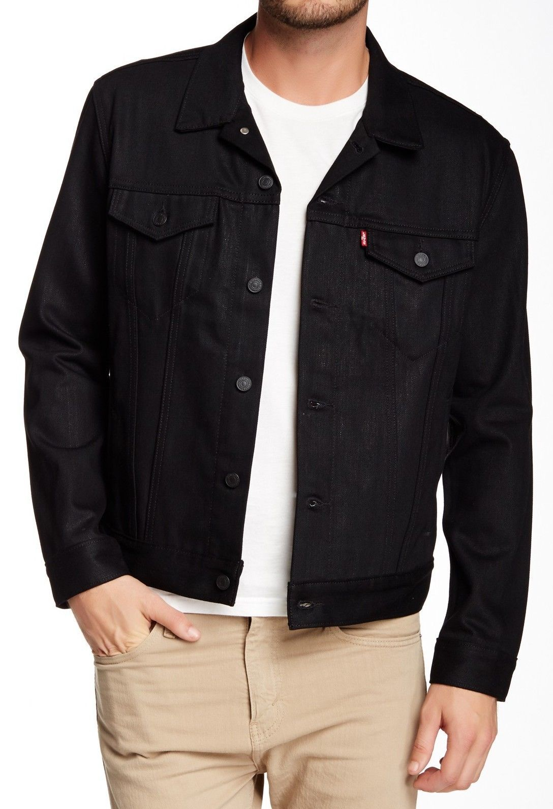 NEW LEVI'S MEN'S PREMIUM COTTON BUTTON UP DENIM JEANS JACKET BLACK 72335068