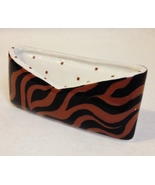 Tiger Stripe Brown Black Safari Animal Print Business Card Holder Cerami... - $24.00
