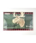 Trophy Mounted Wooden Moose Kit Reward Lodge 38 Pieces 3D Puzzle Rustic - $15.88