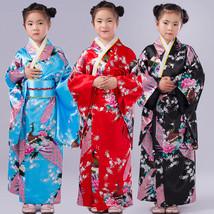 New Girls Kids Japanese Peacock Printing Geisha Kimono Fancy Dress Up Co... - $17.99